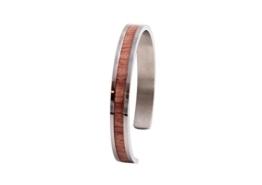 LAiMER Holzarmreif - Damen & Herren Armreif aus Edelstahl mit fein eingearbeitetem Rosen- Holz - 55-65 mm Durchmesser - 1