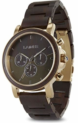 LAiMER Holzuhr IAN - Herren Quarz - Armbanduhr aus Leadholz, Chronograph - 1