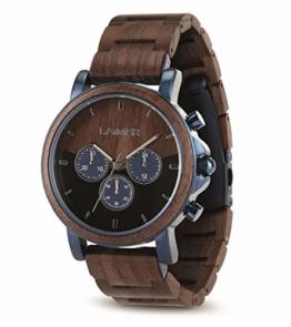LAiMER Holzuhr IVO - Herren Quarz - Armbanduhr aus Walnussholz, Chronograph - 1
