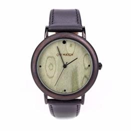 Holzuhr Herren, Classics Ovi Watch Quarz Uhr, Zifferblatt und Geschenkbox aus massivem Naturholz, Durchmesser 40mm - 1