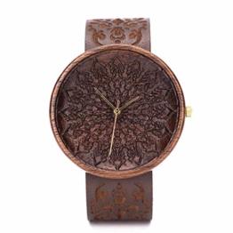 Holzuhr Zelus Von Ovi Watch, Hochwertige Handgefertigte Uhr aus Nussbaumholz mit Mandala-Symbolen, Schweizer Uhrwerk & Saphir Glas - 1
