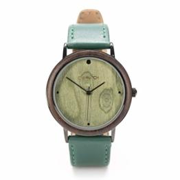 Holzuhren von Ovi mit Grün Lederarm Band, Nachhaltigkeit und Design formschön kombiniert - 1