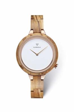 KERBHOLZ Holzuhr – Classics Collection Hinze analoge Quarz Uhr für Damen, Gehäuse und verstellbares Armband aus massivem Naturholz, Ø 38mm, Olivenholz Kupfer Weiß - 1