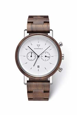 KERBHOLZ Holzuhr – Classics Collection Johann Quarz Uhr, Chronograph für Herren, Gehäuse und verstellbares Armband aus massivem Naturholz, Ø 45mm, Walnuss Silber Weiß - 1
