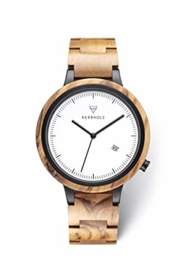 KERBHOLZ Holzuhr – Classics Collection Lamprecht analoge Quarz Uhr für Herren Gehäuse und verstellbares Armband aus massivem Naturholz, Ø 42mm, Olivenholz Schwarz - 1
