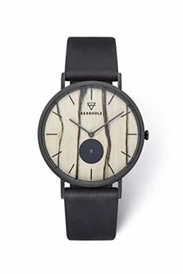 KERBHOLZ Holzuhr – Elements Collection Fritz analoger Unisex Multifunktions Uhr, Naturholz Ziffernblatt, echtes Lederarmband, Ø 40mm, Weiße Birke Schwarz - 1