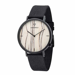 KERBHOLZ Holzuhr – Elements Collection Henri analoge Unisex Quarz Uhr, Naturholz Ziffernblatt, Canvas Armband, Ø 38mm, Weiße Birke Schwarz - 1
