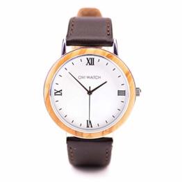 OVI WATCH Herren Holzuhr – New York Class Collection, Quarz Uhr, Schwarz Echtes Lederarmband, Durchmesser 40mm - 1